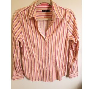 The Limited Cream Beige and Pink Button Up Blouse